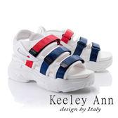 ★2018春夏★Keeley Ann街頭漫步~網布雙色帶厚底休閒涼鞋(藍色) -Ann系列