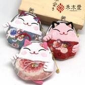 新款出口日本真絲招財貓和風小布藝零錢硬幣鑰匙包婚慶伴手回禮