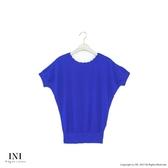 限定回饋【INI】優雅質感、專櫃細膩色紗針織上衣.寶藍色