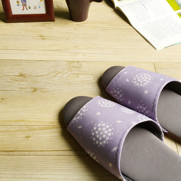 台灣製造-療癒系-森活家居室內拖鞋-蒲公英-薰衣紫