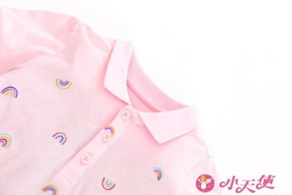 女童短袖洋裝 女童夏季裝短袖連身裙粉紅色木耳邊花苞裙兒童寶寶純棉polo衫裙子 小天使 99免運