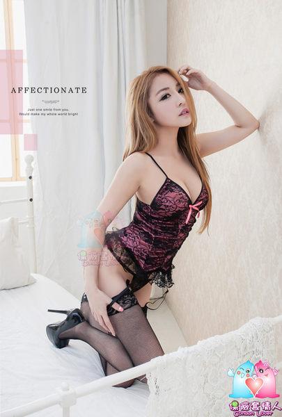 【愛愛雲端】吊襪帶 魅黑緹花!蕾絲桃紅 柔緞馬甲 四件組 R2NA09030037