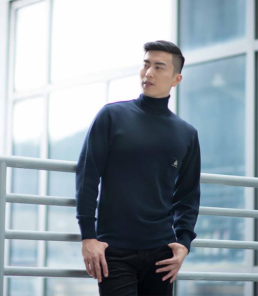 男士 針織毛衣 防縮 反褶領毛衣 純羊毛衣 三燕牌羊毛上衣 美麗諾羊毛 100%純羊毛 7979-1 反褶 丈青