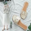 外穿拖鞋女網紅時尚百搭平底防滑軟底一字拖2021夏新款可濕水涼拖 蘿莉新品