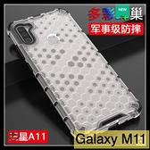 【萌萌噠】三星 Galaxy M11 創意軍工蜂窩系列 氣囊防摔 A11 全包透色亞克力背板 手機殼 手機套