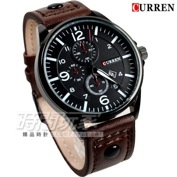 CURREN 時尚潮流款 仿三眼 不鏽鋼時尚皮革腕錶 日期視窗 咖啡色 男錶 CU8164IP咖