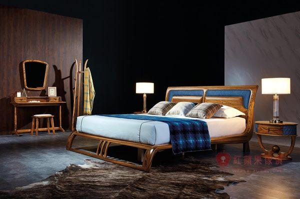 [紅蘋果傢俱] WJM-8010 烏金木系列 床組 造型床架 頂級全實木床台 床頭櫃 雙人床 六尺 掀床