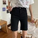 五分褲 牛仔短褲女潮ins夏季2021新款五分騎行褲外穿緊身直筒顯瘦中褲子 【99免運】