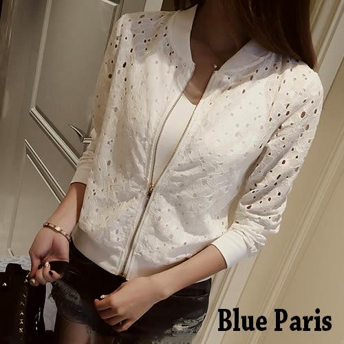 外套 - 韓版開襟拉鍊簍空蕾絲短版小外套 罩衫《黑 / 白》【28050】Blue Paris