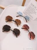 太陽眼鏡歐美切邊無框太陽鏡大框個性網紅明星款蛤蟆鏡墨鏡女眼鏡特賣