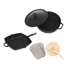 (組)鑄鐵黑琺瑯低身湯鍋28cm+方型煎烤盤26cm+廚房配件三件組(新款)