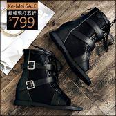 克妹Ke-Mei【AT50662】重磅推薦!JP版型側金屬皮釦軍風皮質露指內增騎士靴