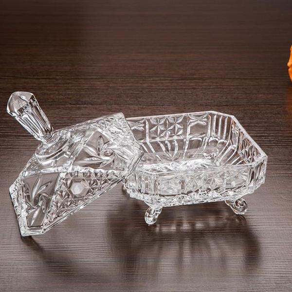 尺寸超過45公分請下宅配家用玻璃糖果盒歐式創意帶蓋干果盤現代客