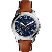 FOSSIL 都會羅馬時尚計時腕錶/手錶-藍x咖啡/44mm FS5210
