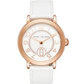 Marc Jacobs Riley 城市晶鑽小秒針手錶-銀x玫塊金框/36mm MJ1616