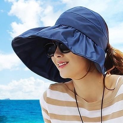 [協貿國際]韓國可折疊涼帽遮陽帽防曬帽子深藍色
