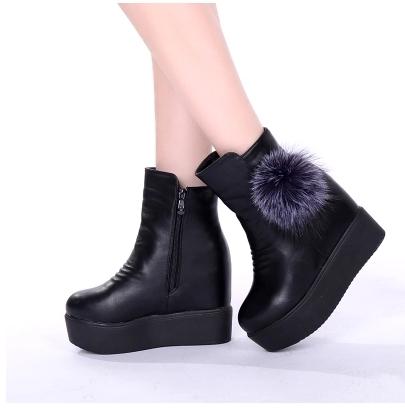 小鄧子秋冬季內增高短靴女厚底坡跟馬丁靴高跟大碼女鞋加絨雪地靴