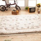 日式床墊;單人3X6尺5cm【羊毛方塊-米色】純棉/羊毛;LAMINA台灣製