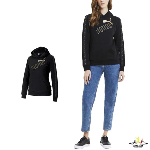 Puma Amplified 女款 黑色 長袖 圓領 棉T 運動 休閒 保暖 長袖上衣 帽T 58361551