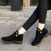 女式短筒靴子2018秋季短筒歐美英倫時尚切爾西靴圓頭絨面低跟方跟  初見居家