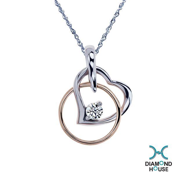 ﹝鑽石屋﹞10分鑽石套鍊 雙色k金項鍊 DB014897