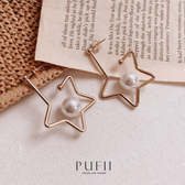 PUFII-耳環 正韓大星星配珍珠耳環-0323 現+預 春【CP18194】