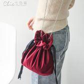 側背包 斜背包包包女秋冬韓國復古絲絨斜挎包單肩包鍊條包小包「Chic七色堇」