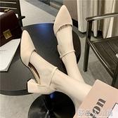 鞋子女學生韓版包頭單鞋女夏百搭中跟尖頭一字扣粗跟高跟鞋女涼鞋「錢夫人小鋪」