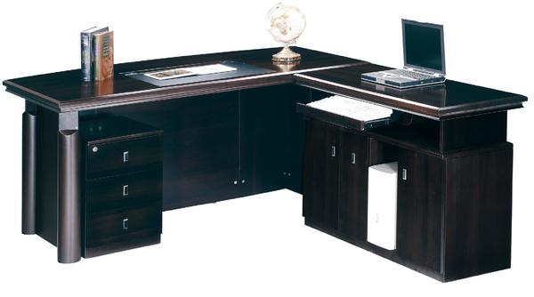 【 IS空間美學】歐納西金鑽黑5.8尺主管桌整組(L型)