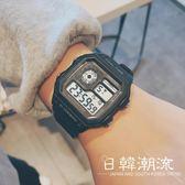 手錶 手表電子表成人男女學生韓版簡約潮流休閑復古大氣男士防水方型款
