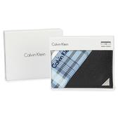 Calvin Klein 經典鐵牌LOGO防刮多卡短夾(黑色-含帕巾)103093