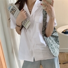 白襯衫2021新夏女學生韓版寬松ins港風原宿上衣短袖夏季外套潮