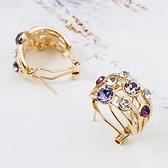 耳環 玫瑰金 925純銀鑲鑽-炫麗色彩生日情人節禮物女飾品73gs119【時尚巴黎】