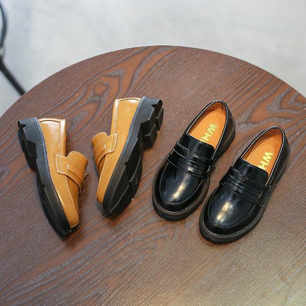 春季新款兒童套腳單鞋英倫風男童皮鞋中大童學生鞋防滑樂福鞋 〖korea時尚記〗