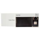 Calvin Klein荔枝紋皮革可拆式證件RFID防盜短夾鑰匙圈禮盒(咖啡色)103000