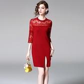 洋裝-七分袖圓領針織拼接蕾絲女連身裙73of106【巴黎精品】