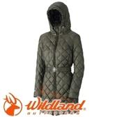 【Wildland 荒野 女款 輕量四層700FP中長羽絨衣 可可綠】0A32101/連帽外套/羽絨外套/保暖外套