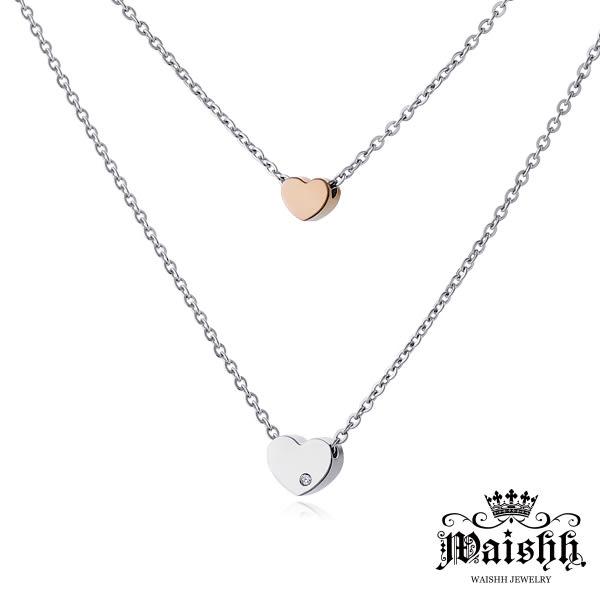 Waishh玩飾不恭【純真的心-雙色】雙墬 珠寶白鋼項鍊【女款】