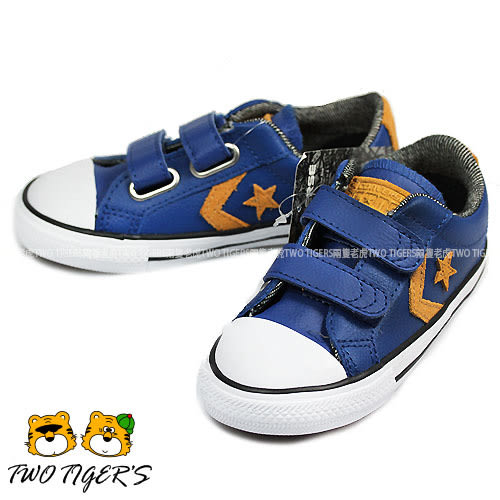 CONVERSE ALL STAR 藍色 皮革 兩段魔鬼氈 帆布鞋 小童鞋 NO.R0790
