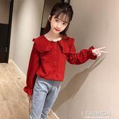 兒童襯衫女童裝上衣2019秋裝新款公主時尚襯衣薄款長袖洋氣小女孩-ifashion
