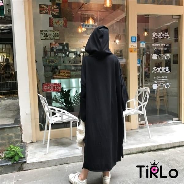 連身裙 -Tirlo-推薦!連帽大口袋OVERSIZE連身裙-兩色