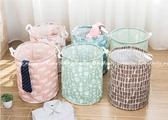 【衣物收納籃】北歐風居家髒衣籃 可摺疊置物籃 防水塗層雜物籃 印花玩具籃 棉麻手提收納桶