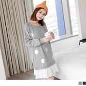 《AB1751》拼接純白抓皺裙襬銀色點點燙印棉感連袖洋裝.2色 OrangeBear