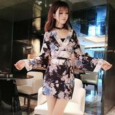 日本改良和服女裝性感高腰顯瘦日式包臀連身裙【聚寶屋】
