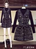 大碼套裝大碼女裝秋冬季胖妹妹洋氣減齡連衣裙適合胯大腿粗的兩件套裝 麥吉良品YYS
