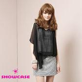 【SHOWCASE】不規則網紗 條紋貼鑽修身連衣裙 洋裝