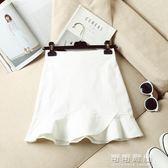 夏季韓版高腰牛仔半身裙女包臀荷葉邊短裙A字魚尾裙半裙褲裙 可可鞋櫃