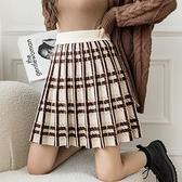 針織半身裙女短裙秋季韓國高腰包臀裙學生格子JK裙修身A字裙H331快時尚