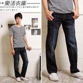 MIT台灣製花紋刷白方口袋伸縮彈性單寧直筒褲@樂活衣庫【713】