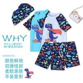 兒童泳衣 兒童泳衣男童小中大童分體卡通游泳衣寶寶嬰幼兒小孩防曬泳褲套裝 七色堇